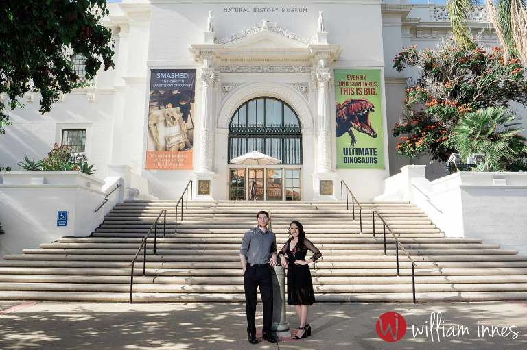 Couple standing in front of museum