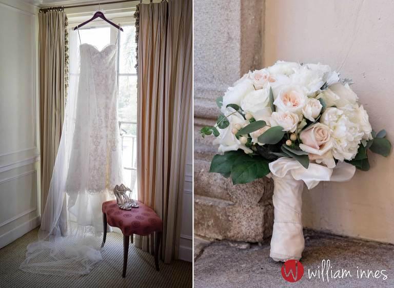 Brides dress hanging in window at a wedding at a Athenaeum Pasaden weddinga