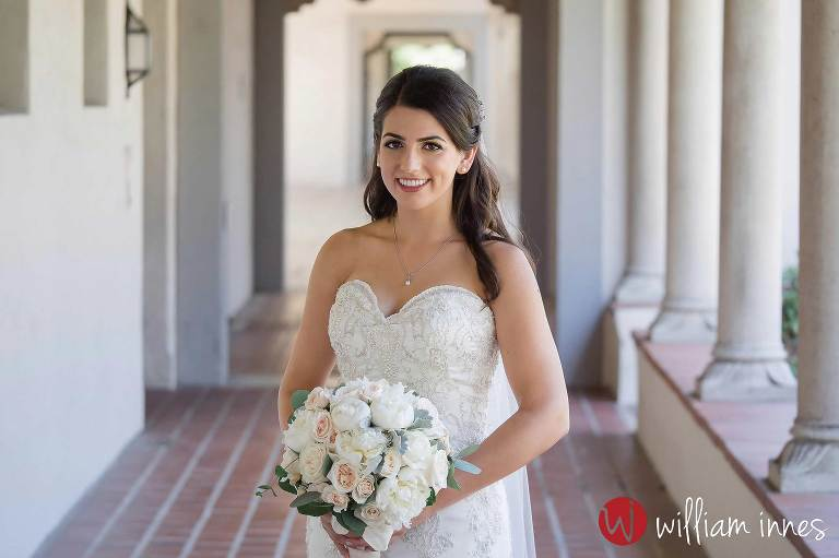 Bride waiting to see her groom at wedding at The Athenaeum Pasadena wedding