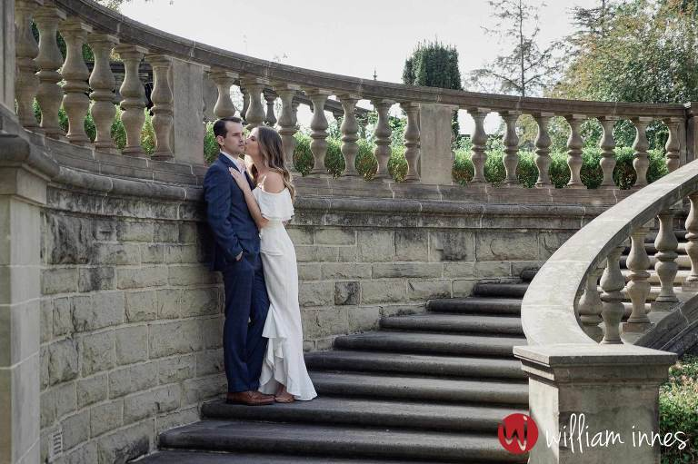standing on the stairs at Greystone Mansion